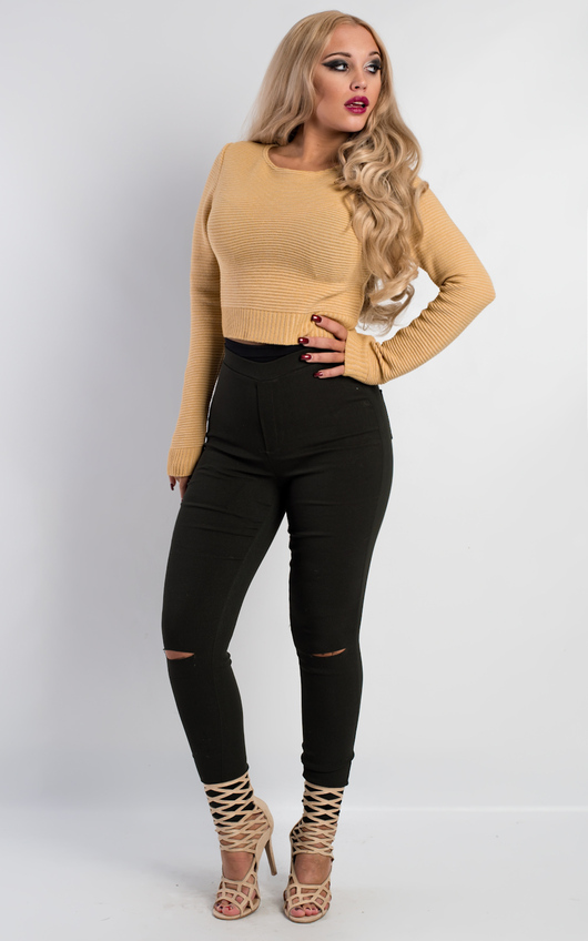 Eda Cropped Knitted Jumper