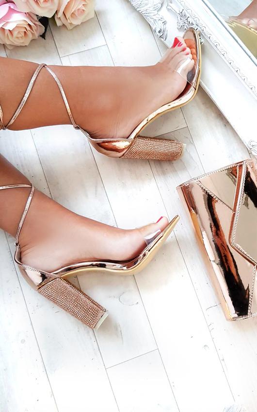 b569e005d60 Hope Clear Strap Tie Up Diamante Heels