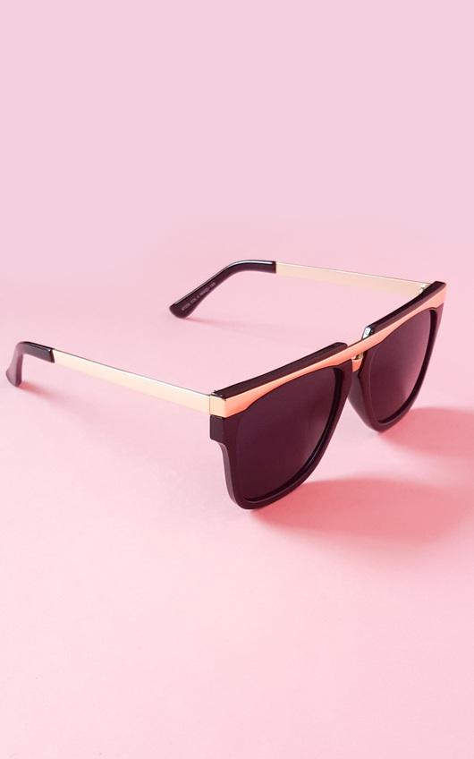 Florita Gold Bar Black Sunglasses