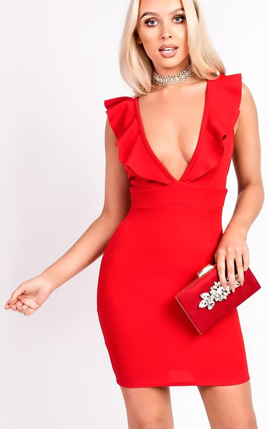 Eliza Frill Sleeved Mini Dress