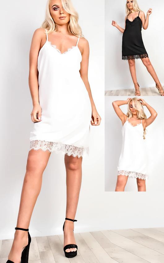 67a703dad1b9 Tiffany Lace Cami Mini Dress in Black | ikrush
