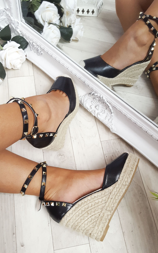 Hetti Studded Ankle Strap Espadrille Wedges