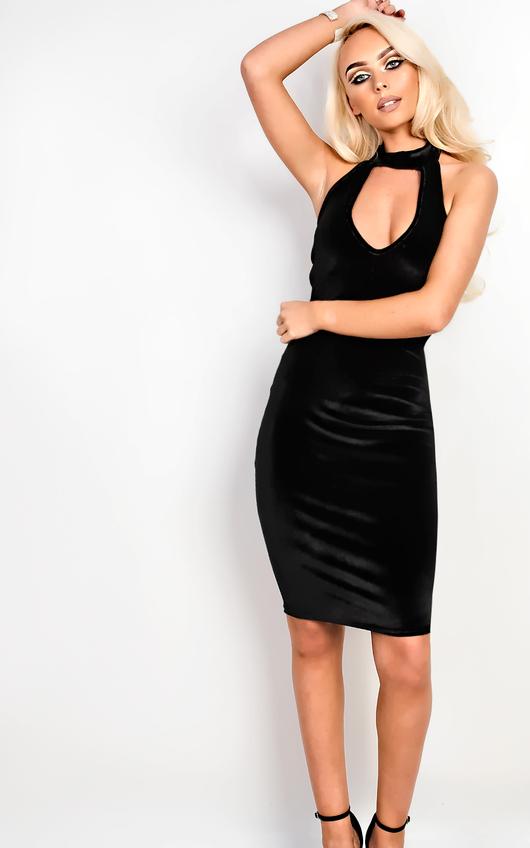 Cailey Velour Choker Neck Bodycon Dress