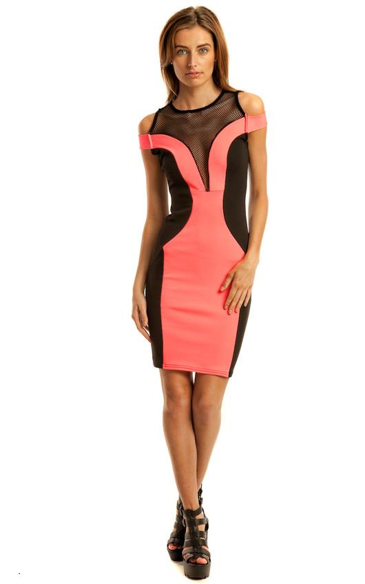 Kai Neon Pink Bodycon Midi Dress