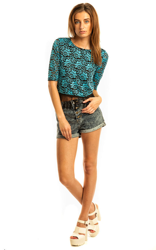 Kimmy Lace Embroidered Fringe Top