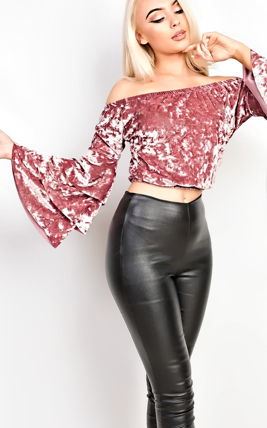 Adele Velour Off Shoulder Crop Top
