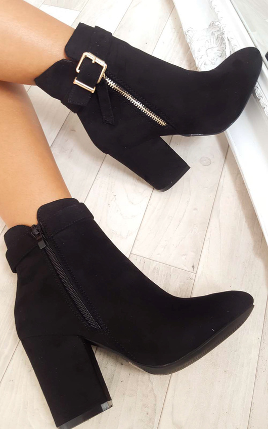 Misa Buckle Faux Suede Ankle Boots