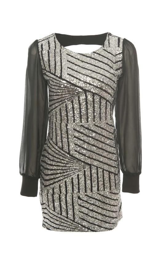 Cerys Sequin Chiffon Sleeve Dress