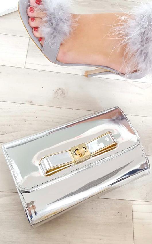 Nadia Metallic Bow Detail Clutch Bag