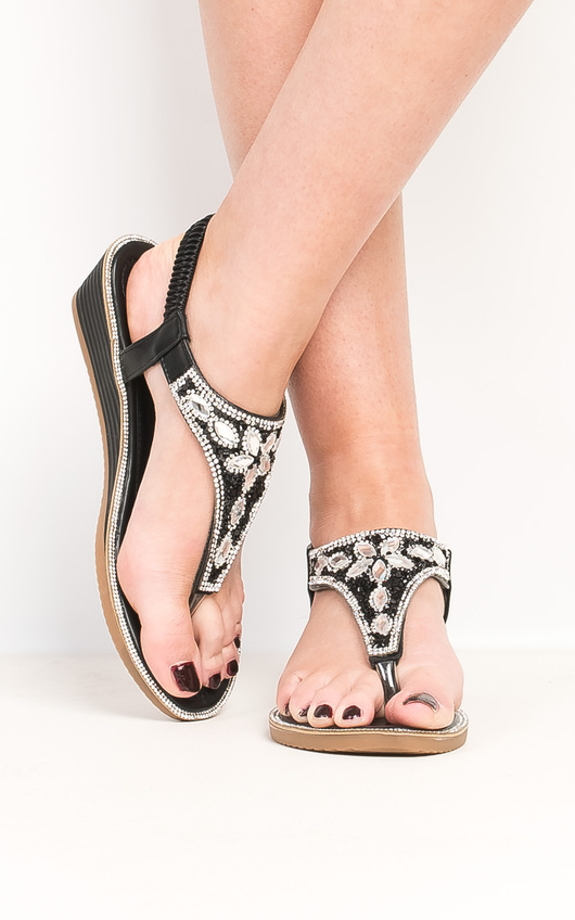 Arizona Black Embellished Wedge Sandals
