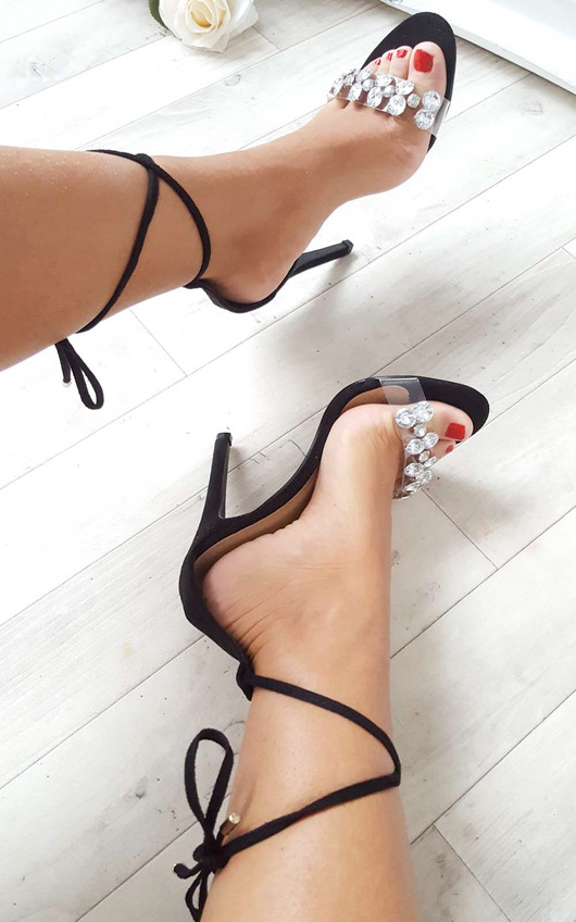 Jalena Jewelled Clear Strap Heels