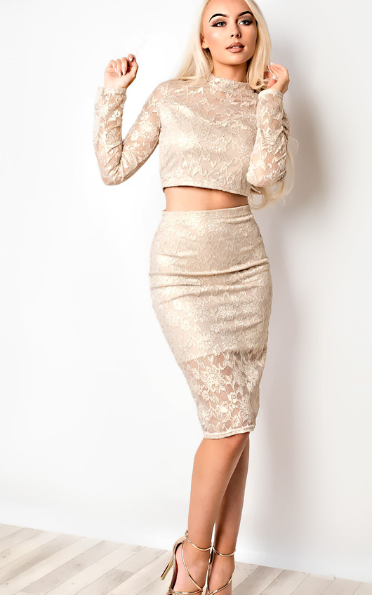 680c4ced6a81 Valery Metallic Lace Co-ord in Champagne | ikrush