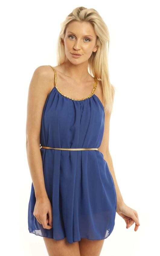 Gisele Grecian Dress in Royal Blue