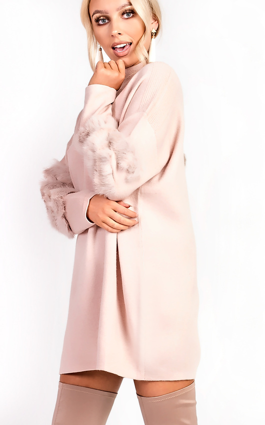 Eva Faux Fur Panel Knitted Dress
