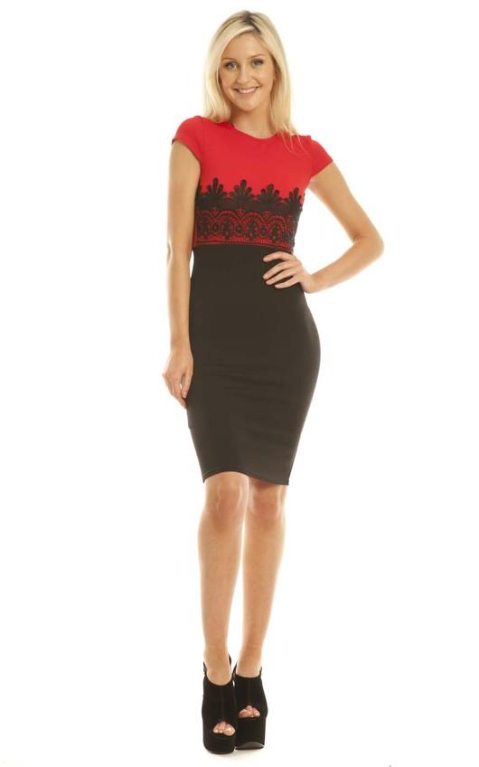 Maisha Colour Block Midi Dress in Red
