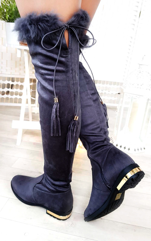 Anah Faux Suede Fluffy Tassel Knee High Boots