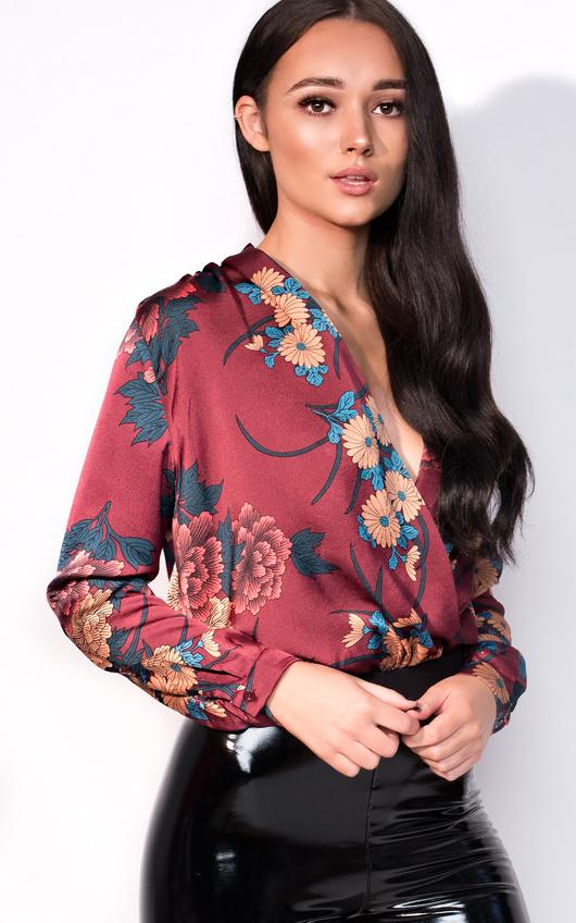 Livia Plunge Floral Bodysuit