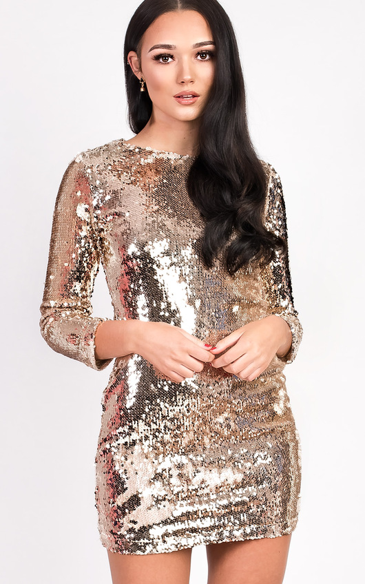 Francesca Long Sleeved Sequin Dress