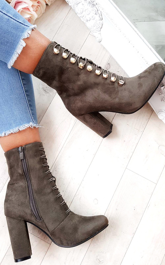 Lucy Faux Suede Corset Ankle Boots