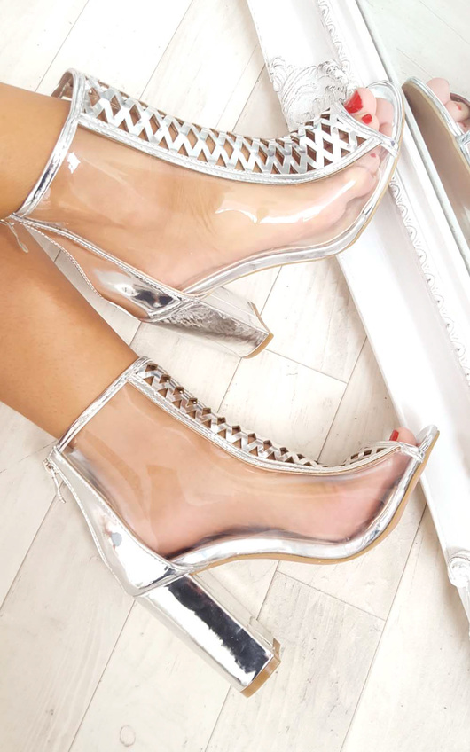 Kadiah Clear Block Heeled Corset Ankle Boots