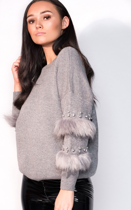 Reese Faux Fur Embellished Panel Knitted Jumper