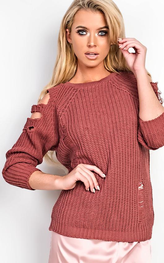 Allysia Cold Shoulder Knitted Jumper
