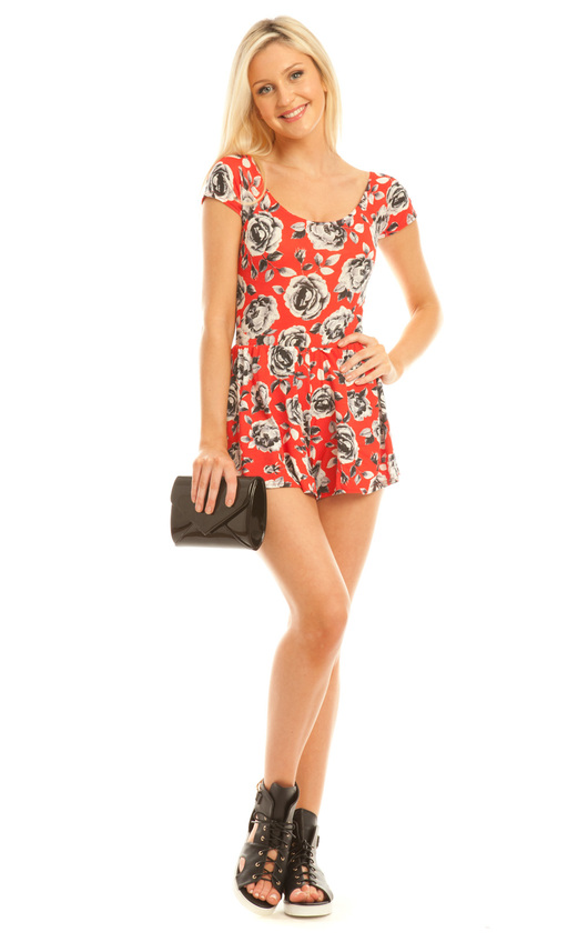 Aerlene Red Floral Playsuit