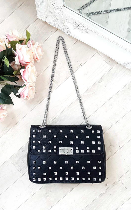 Sally Quilted Studded Shoulder Chain Bag