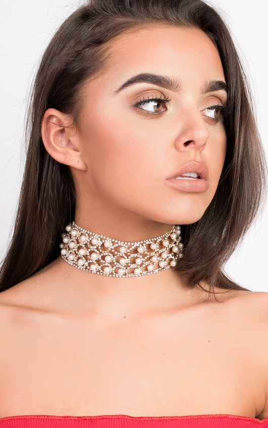 Kylie Diamante Pearl Choker Necklace