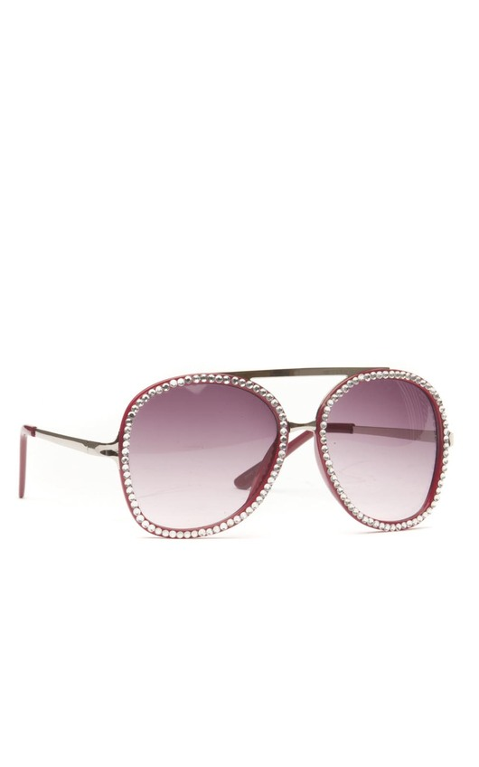 Tulip All Over Diamante Rim Sunglasses in Mulberry