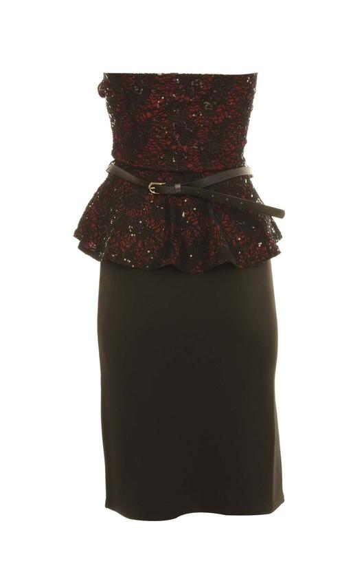 Ondine Strapless Lace Peplum Midi Dress