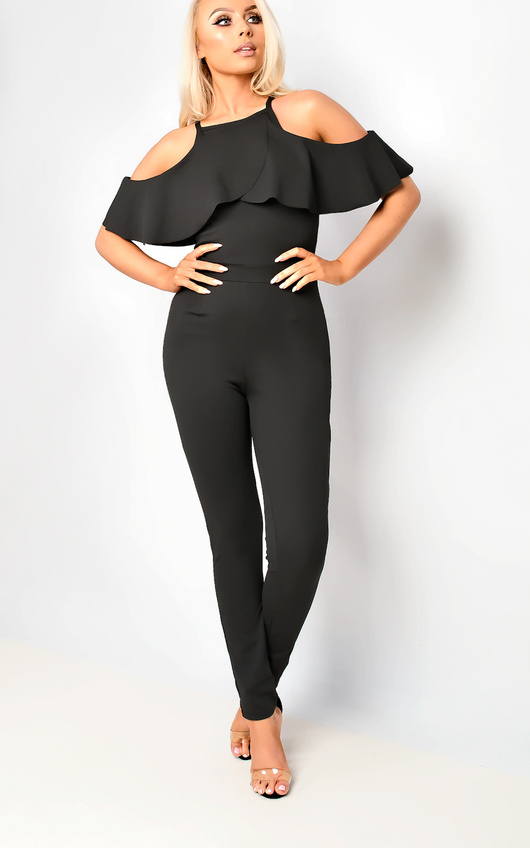 Emy Cold Shoulder Frill Jumpsuit