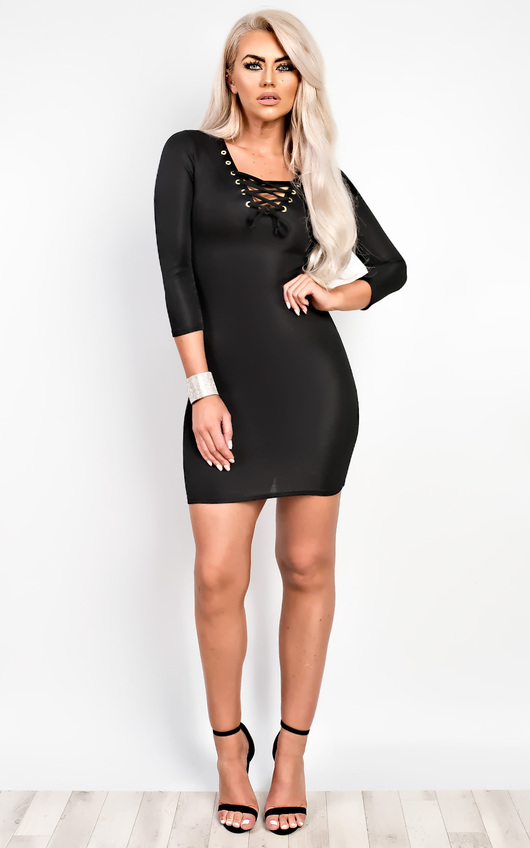Elyse Lace-Up Bodycon Dress