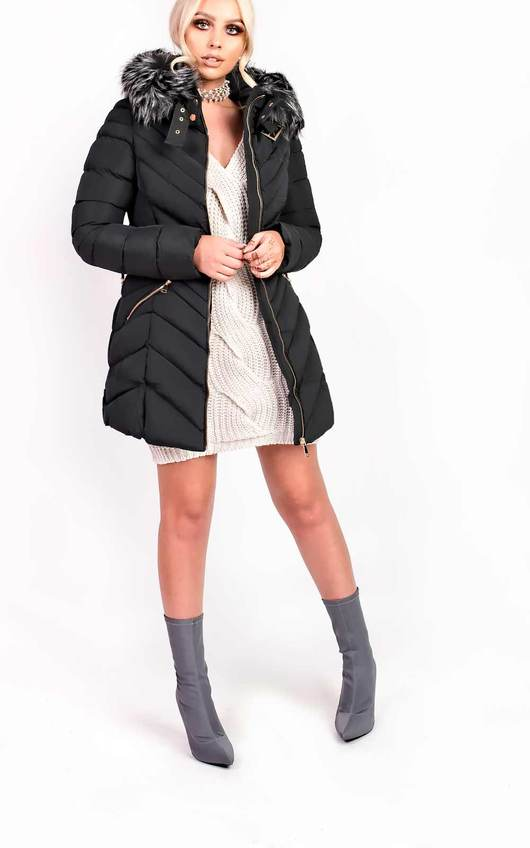Stella Padded Faux Fur Hooded Belted Jacket