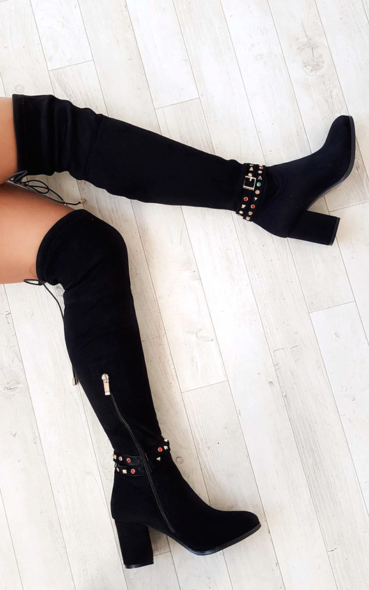 Abigail Faux Suede Gem Studded Knee High Boots