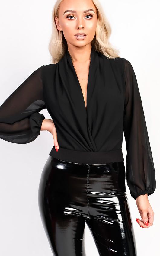 Catriona Plunge Cowl Neck Bodysuit
