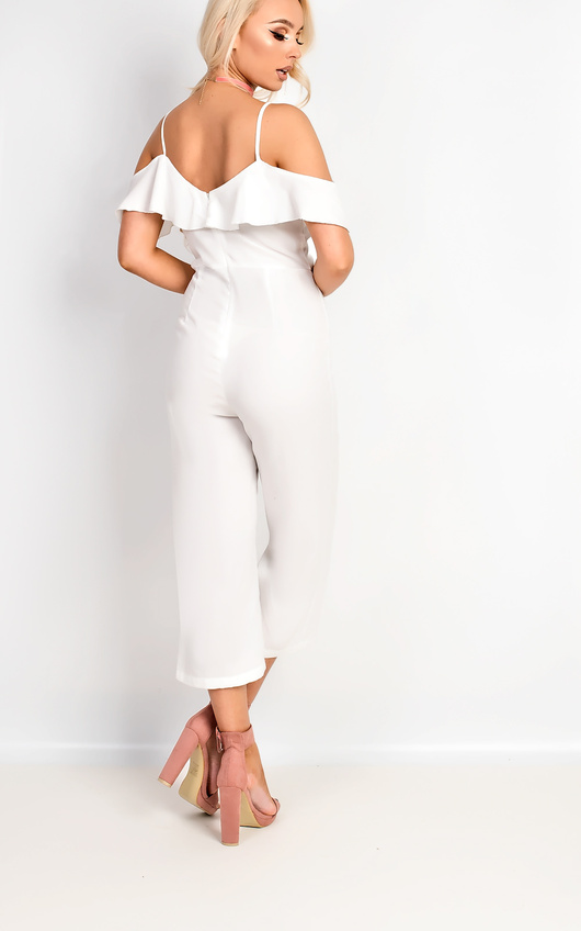 8d5e526e032f Aleah Cold Shoulder Frill Jumpsuit in White