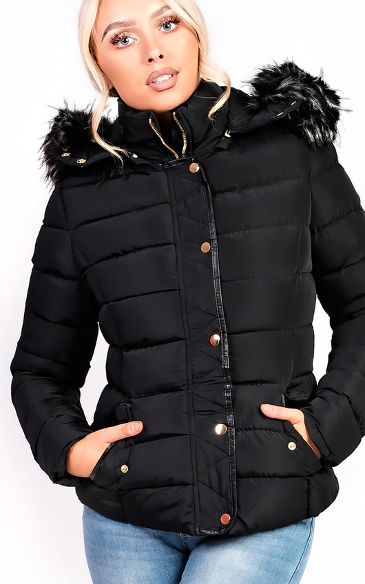 Selina Padded Faux Fur Popper Hooded Jacket