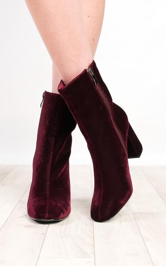 Yazmin Velvet Heeled Boots