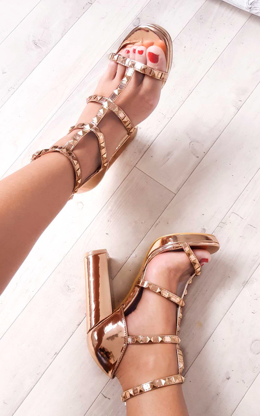 Layla Strappy Faux Suede Studded Block Heels