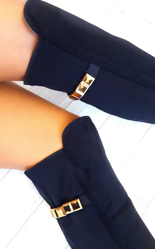Jada Faux Suede Gold Bar Knee High Boots