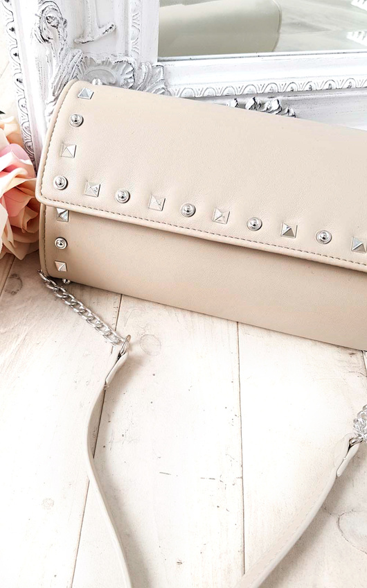 Rosa Quilted Gold Studded Clutch Bag