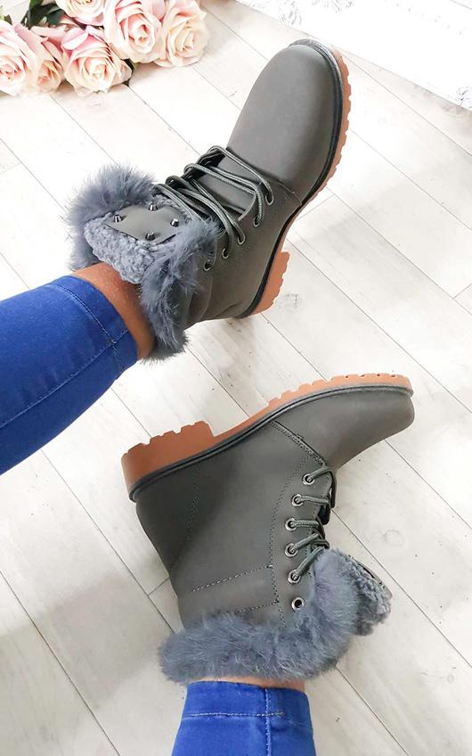 Josie Faux Fur Lace Up Boots
