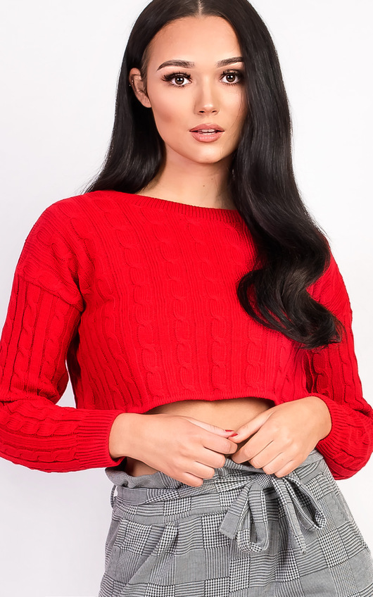 Abbie Cropped Cable Knit Jumper