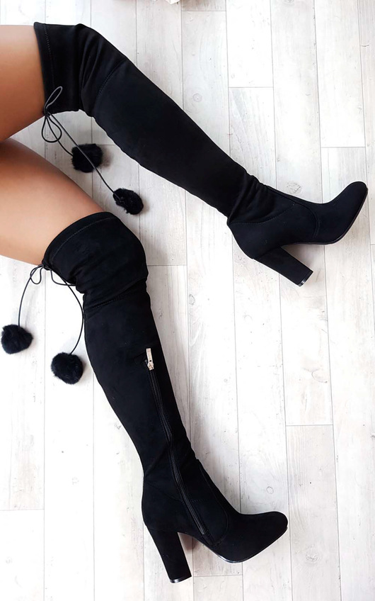 Poppy Pompom Faux Suede Knee High Boots