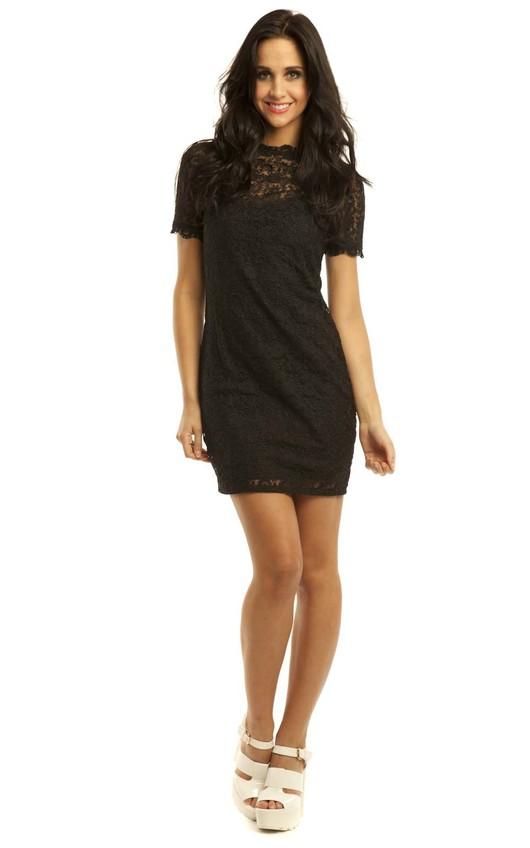Valentina High Neck Lace Dress