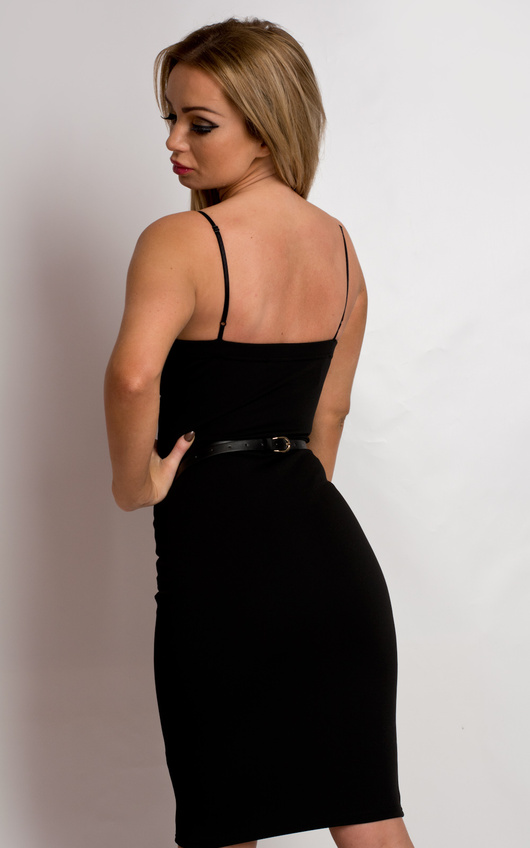 a3fa9c1e674 Emberlynne Belted Bodycon Dress in Black