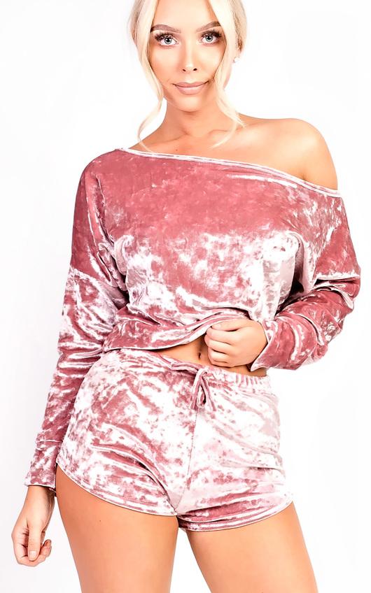 Chloe Velour Crop Co-ord Loungewear Set