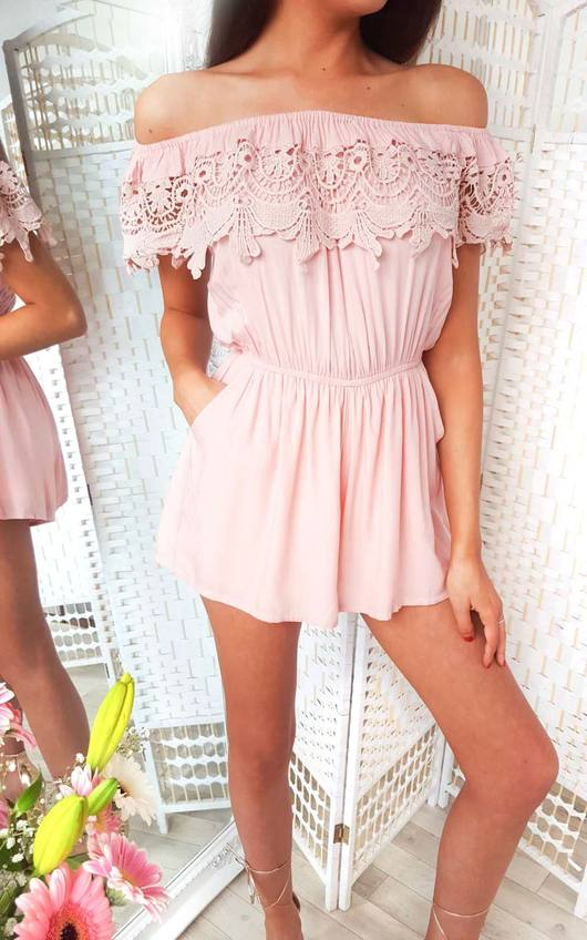 Justina Off Shoulder Crochet Playsuit
