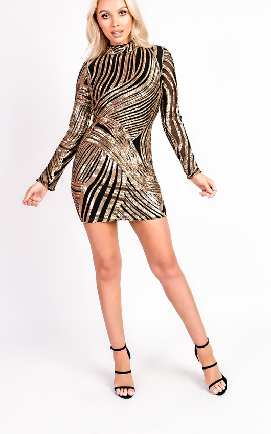 Aleah Long Sleeved Sequin Bodycon Dress